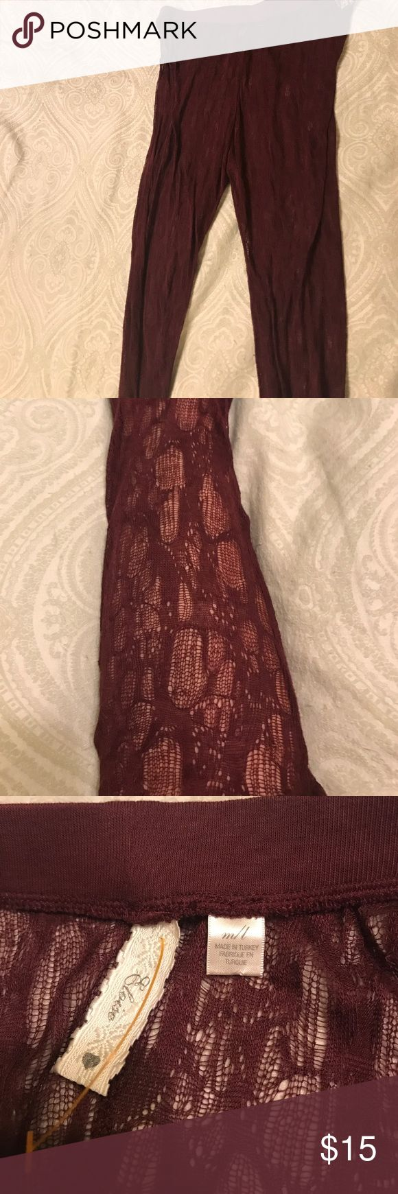 NWOT Footless Tights Burgundy color Lace type footless tights. NWOT. Size M/L Anthropologie Accessories Hosiery & Socks