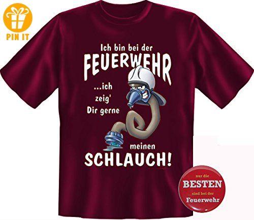 FEUERWEHR SCHLAUCH Shirt Feuerwehrmann Geschenk, BURGUND 4XL +Button Besten bei der Feuerwehr - T-Shirts mit Spruch | Lustige und coole T-Shirts | Funny T-Shirts (*Partner-Link)
