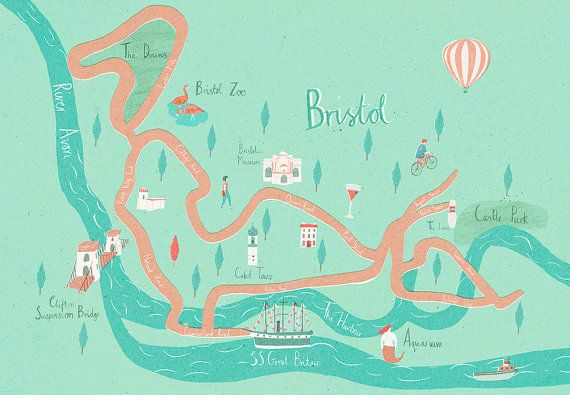 Illustrated map of Bristol A3 by naomiwilkinson on Etsy, $51.54