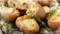 Ham Stuffed Baked Potatoes with Cheese