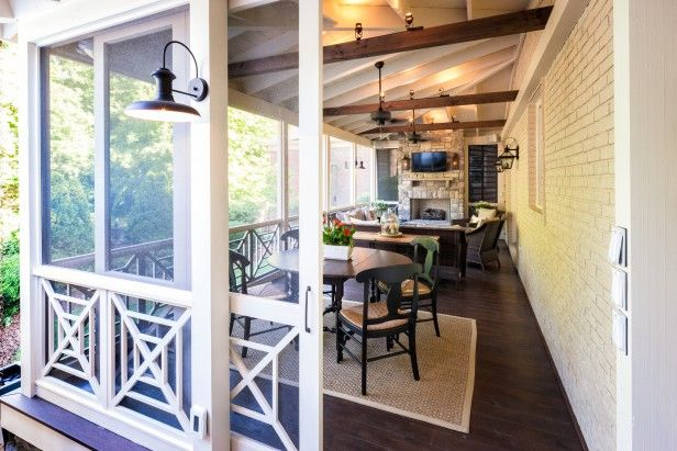 Screened and Framed in White - When it comes to porches, this back-of-the-house fixture is a superior example of the form as designed by The Porch Company