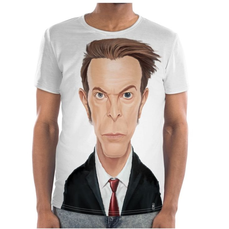 David Bowie Celebrity Caricature Cut and Sew T Shirt art | decor | wall art | inspiration | caricature | home decor | idea | humor | gifts