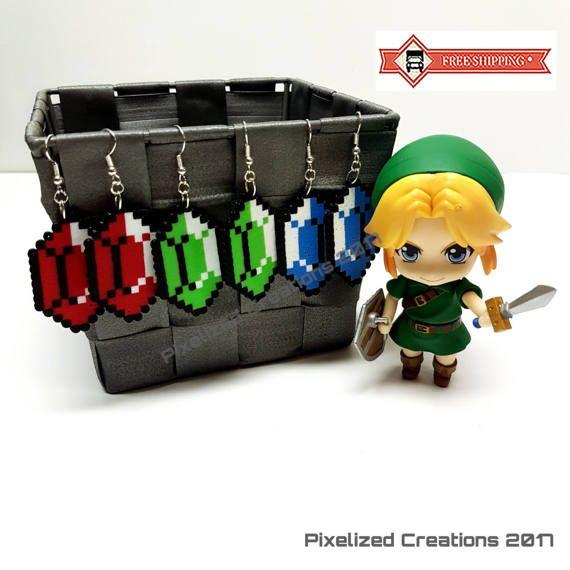 Legend of Zelda Videogame Inspired Rupee Hook Silver Earrings