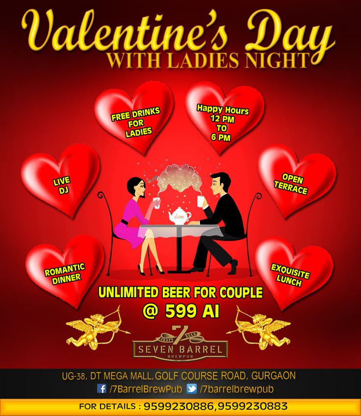 It cant get any better. It's Valentine's Day and it's Ladies Night at 7 Barrel Brew Pub. Get your best girlfriends together for a fun ladies night or plan a date with your loved one for a romantic dinner at newly opened terrace bar and lounge.  #ladiesnight #valentinesday #freedrinks #unlimitedbeer