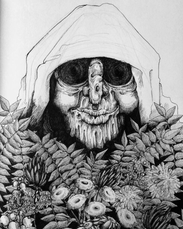 My old herbalist ink drawing art by Magdalena Leszczyniak