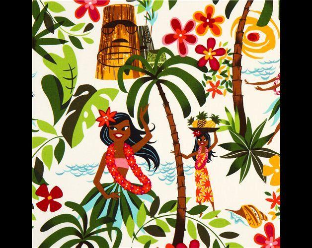 """HULE Tela laminada con chicas hawaianas 'Leis, Luaus and Alohas'  de Alexander Henry Colección """"Laminates"""" importado de EEUU Hecho en Japón  tela blanca laminada de algodón con chicas bailando..."""
