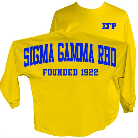 Sigma Gamma Rho Spirit Jersey (Gold) - Letters Greek Apparel - Black Greek Paraphernalia