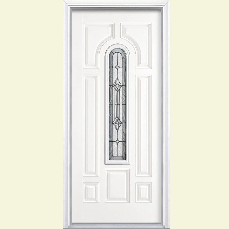 Masonite 36 in. x 80 in. Providence Center Arch Primed Smooth Fiberglass Prehung Front Door with Brickmold, Primed White