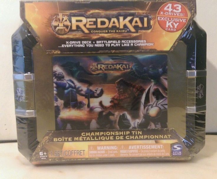 Redakai Large Championship Tin 43 X-Drives Battlefield Accessories New Sealed X-drive plus battlefield accessories. Everything you need to play like a champion. New purchased for resale by Keywebco Video inspected during shipping Shipped fast and free from the USA The item for sale is pictured and described on this page. The stock photo may include additional items for display purpose only - which will not be included. Packages may show wear or be opened if the battery is replaced or during…