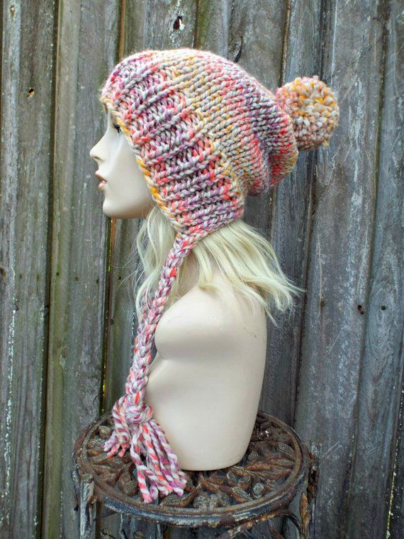 ffba5a4479e Chunky Knit Hat Womens Orchid Mustard Coral Slouchy Pom Pom Hat - Ear Flap  Beanie Braided Ties Warm Winter Hat - Charlotte - READY TO SHIP
