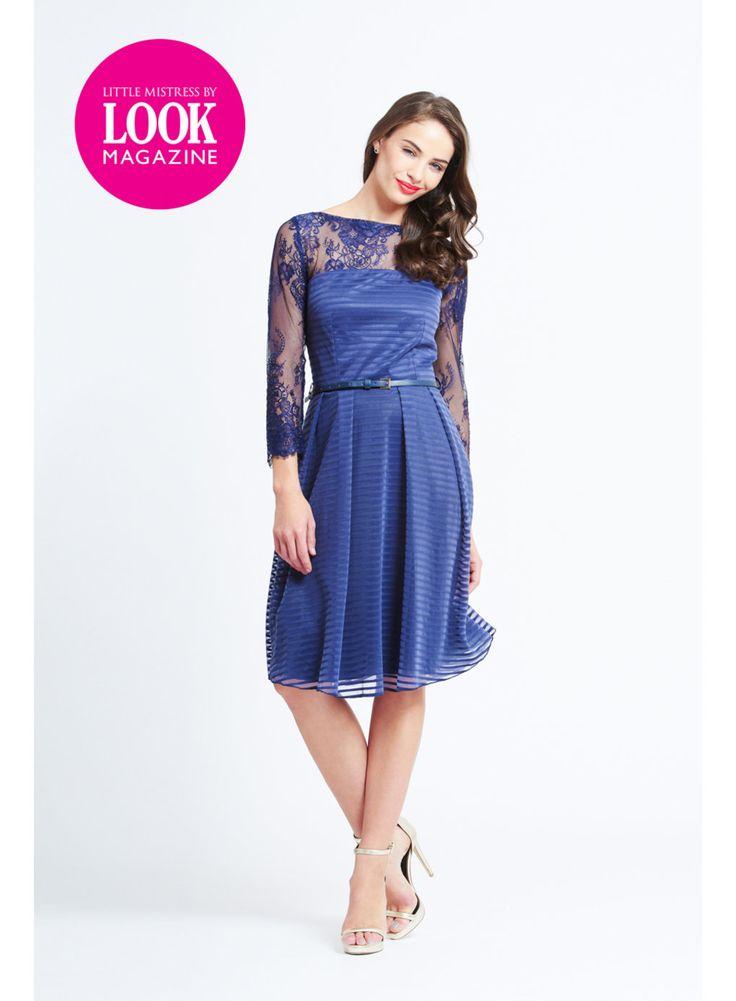 Photo 3 of Little Mistress Navy Stripe and Lace Dress