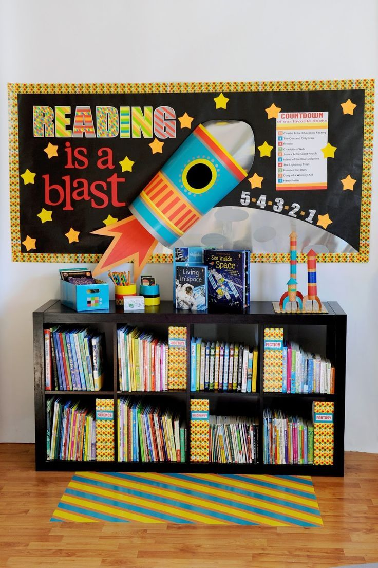 This is agreat bulletin board idea for your reading corner or space themed classroom. Reading Is A Blast Bulletin Board & Free Printable