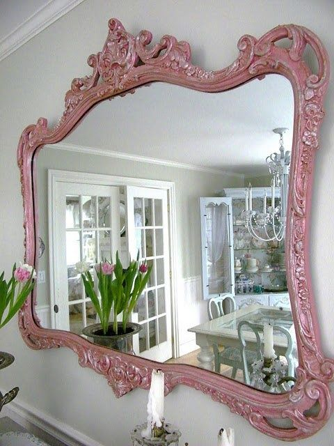 Shabby Chic Decor ● Painted Mirror - http://ideasforho.me/shabby-chic-decor-painted-mirror/️❤️PM