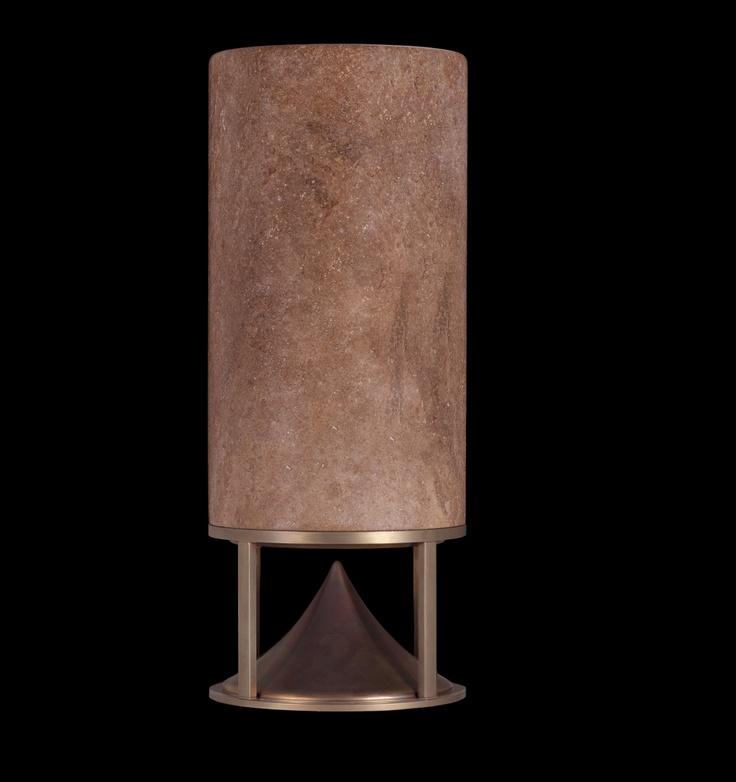 Cylinder, walnut travertine and oxidized brass base, omnidirectional sound module designed by Vladimir Djurovic for Architettura Sonora