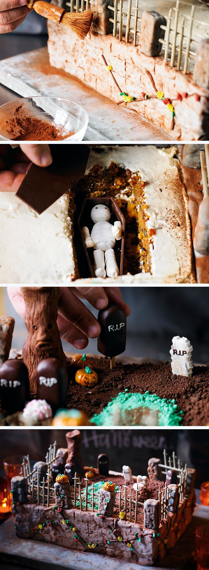 Possibly the best Halloween cake ever... Heston's Ultimate Halloween Cake recipe, complete with a zombie grave!