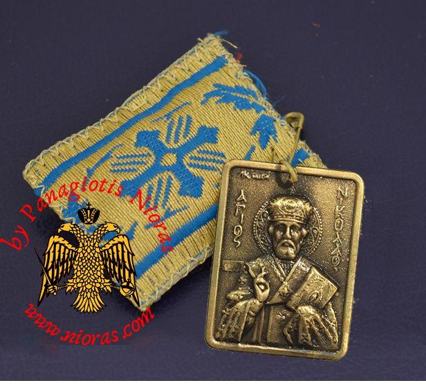 Amulet - Pendant Rectangular with Metal Icon of Saint Nicholas