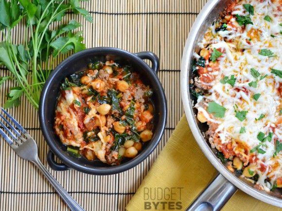 Sausage and Kale Skillet - gluten-free. Vegan: Field Roast Italian sausage, Daiya mozzerella.