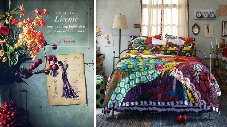 I really want this bed spread with sea foam green walls! From Anthropolgie (:    $168