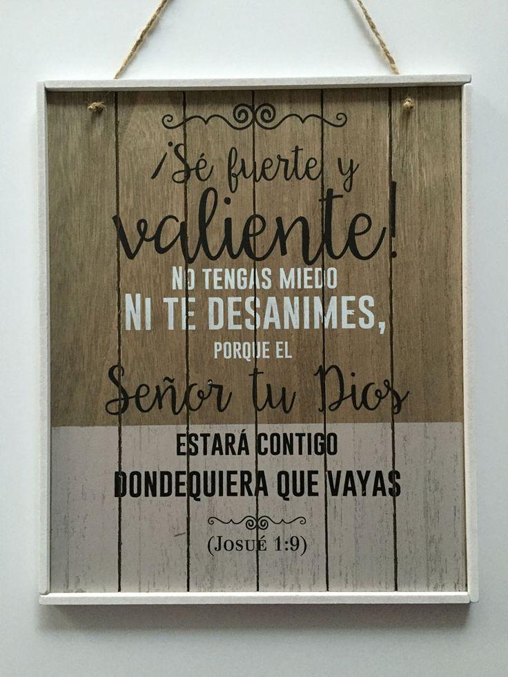 Sé fuerte y valiente: #Cuadro madera #vintage bicolor #regaloscristianos #Biblia
