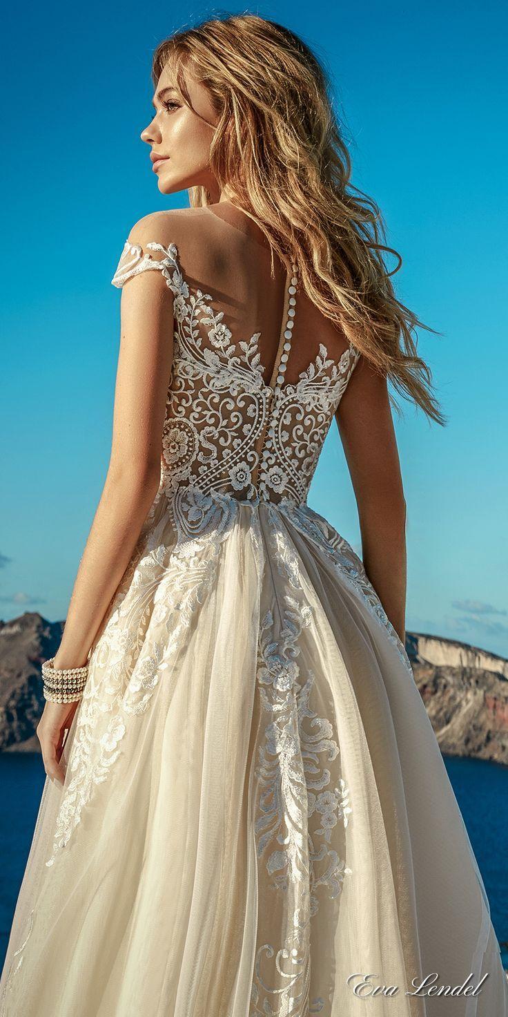 Eva Lendel 2017 bridal cap sleeves sweetheart neckline heavily embellished bodice romantic ivory color a line wedding dress lace back chapel train (cameron) bv #wedding #bridal #weddingdress