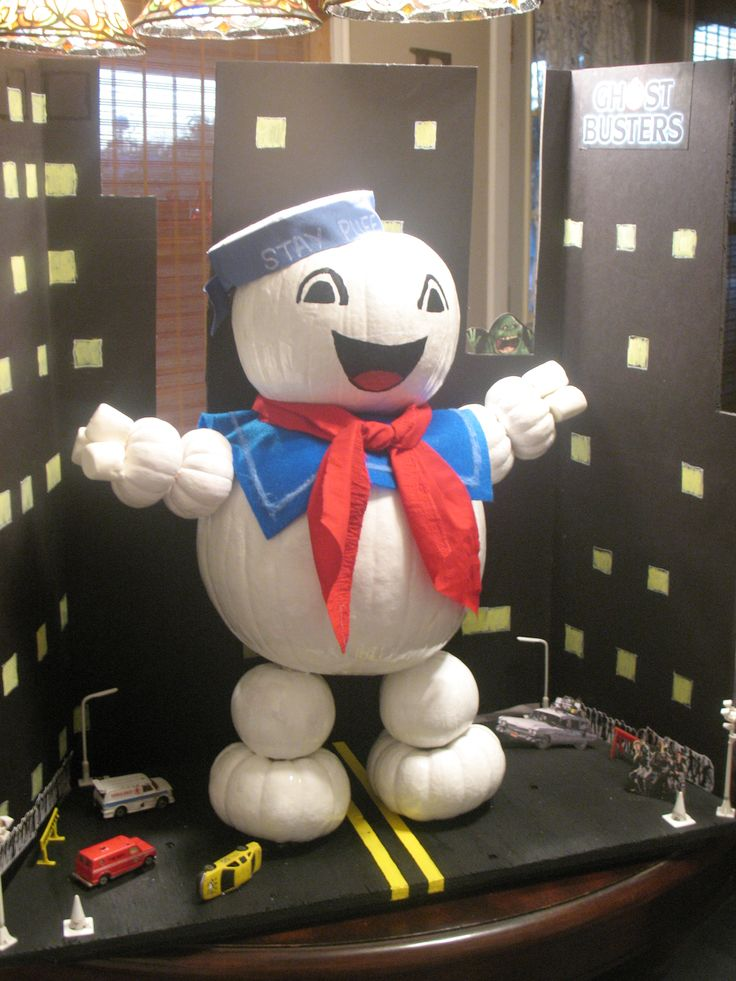 Stay Puff Marshmallow Man made from pumpkins.  Son made this for his entry in his school's pumpkin decorating contest.