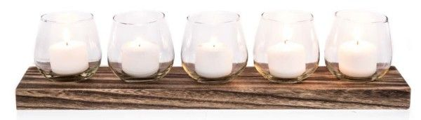 Wooden Tea Lite Holder With 5 Glass Cups WEDDING DECORATIONS FOR HIRE AUSTRALIA WIDE (www.bwdecor.com.au) #weddingdecorations
