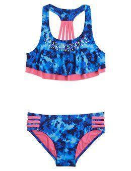 Dye Effect Flounce Bikini Swimsuit