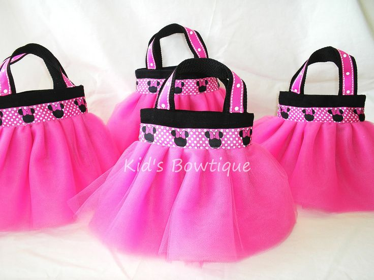 Set of 12 Minnie Mouse Themed Party Favor Tutu Bags - Disney Birthday gift bags. $119.40, via Etsy.