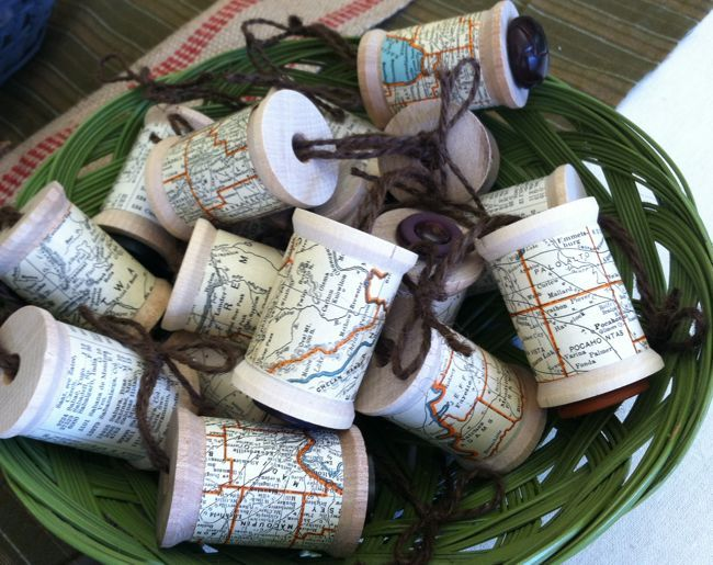 Use an old map to make spool ornaments of your favorite destinations or loved one's homes.