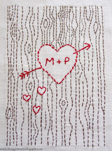 Hand-stitched Valentine - so sweet, so simple.  Would be a great tween project too.