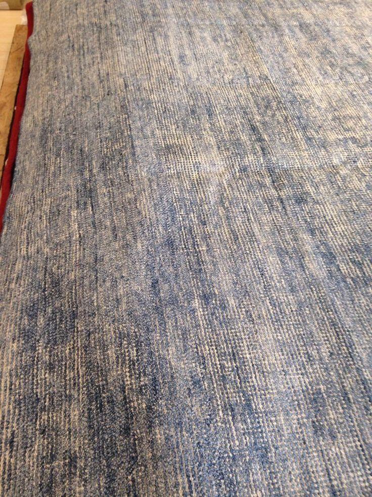 Spectacular Hand Made Area Rug Blue Soumac Solid Flat