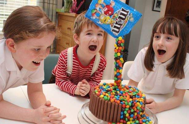 This anti-gravity cake will blow your mind! The kids will truly be amazed by this gravity-defying cake decorated with M&Ms. Victoria Threader has created this step-by-step recipe