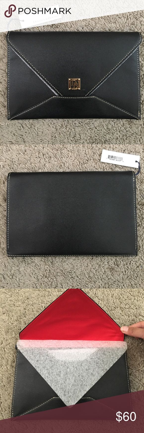 """NWT Dooney & Bourke Envelope Clutch - Sz OS NWT Dooney & Bourke Envelope Clutch - Sz OS. Black leather. Red interior. L 9"""", W 6"""", D 0.25"""". Never worn, original tags attached with interior liner. Gorgeous, classy piece! Dooney & Bourke Bags Clutches & Wristlets"""