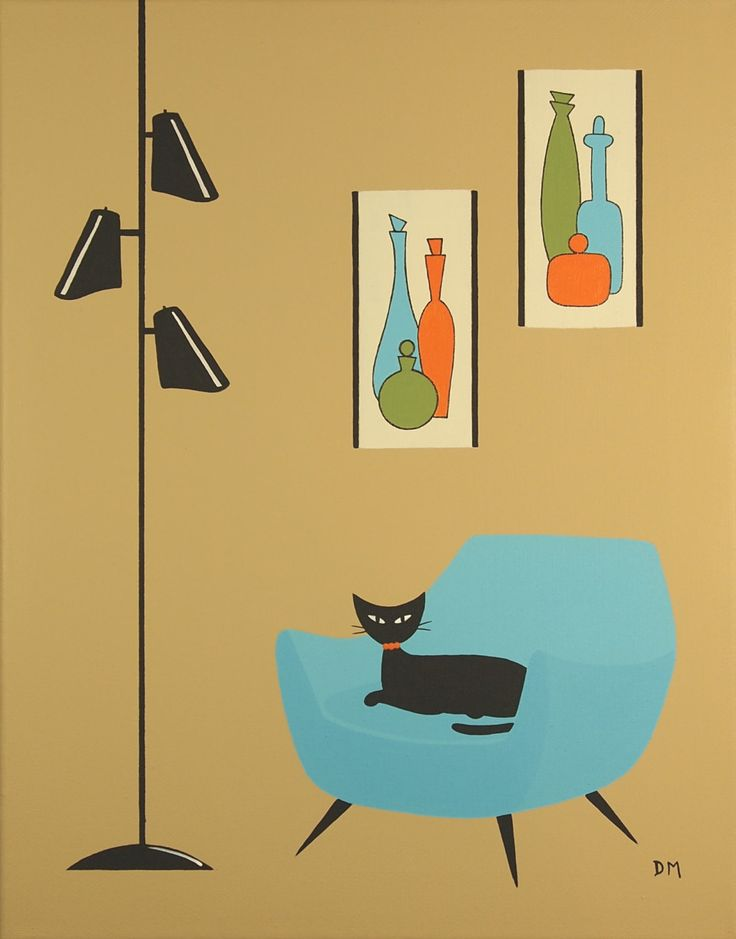 Mid Century Modern Art, 11 X 14, Original Acrylic