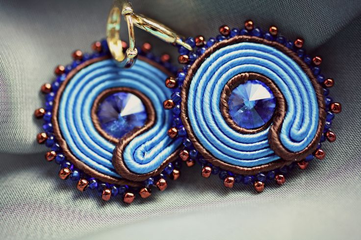 Blue and brown soutache  Swarowski rivoli,sead beads