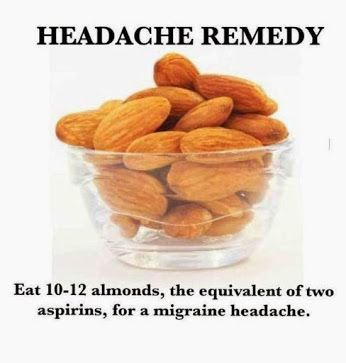 Wow and I love almonds ! I also always have a headache.... I will be trying this.........Headache Remedy #healthrelieve                     I suffer from horrible headaches and I decided to try this...It does really work