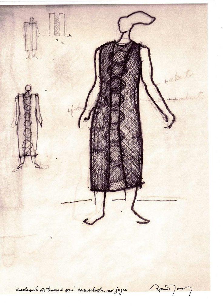 Croqui do vestido desenhado por Décio Tozzi que reproduz a arquitetura de seu prédio Forum Trabalhista Ruy Barbosa (Barra Funda)