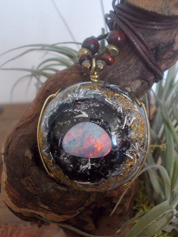 Orgone orgonite pendant with large opal, excellent quality, $120.00