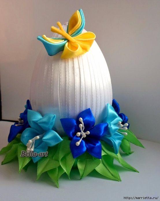 Шелковые пасхальные яйца с цветочками канзаши (38) (554x700, 230Kb)