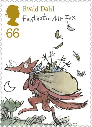 Literary Stamps: Roald Dahl (1916-1990)  Fantastic Mr Fox  - Royal Mail Releases Awesome Roald Dahl Stamps -- art by Quentin Blake