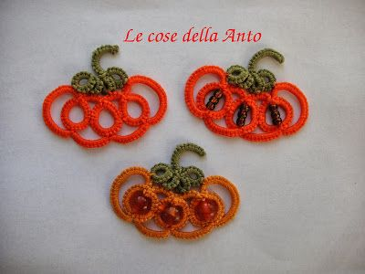 THINGS OF ANTO: HALLOWEEN PUMPKIN - TUTORIAL tatting NEEDLE TO MAKE EARRINGS, PENDANTS AND DECORATIONS - NEEDLE tatting