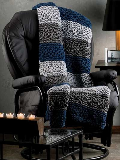 ePatternsCentral  Weekend Cabin    Navy and grays combine handsomely in an afghan perfect for any room in the home, cabin or cottage.     Size: 46″ x 60″.     Skill Level: Intermediate    Category: Knitting    ONLY $3.99