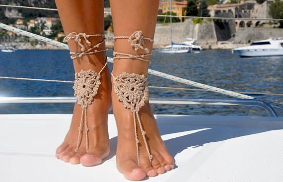 Soleless Sandals - Beach Sandals - Summer Accessory - Soleless Beach Shoes - Boating - Foot Jewelry, Gift for Her - Beige Jewelry for Feet - Boho Sandals #boho #barefoot #barefootsandals #crochet #beach #bohemian #footjewelry #feetjewelry #bohosandals