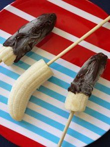 Chocolate covered frozen bananas on a stick.  These are so good with dark chocolate.