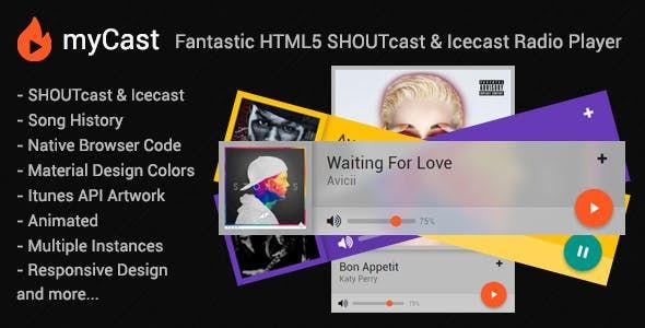 myCast is a Fantastic HTML5 SHOUTcast & Icecast Radio Web