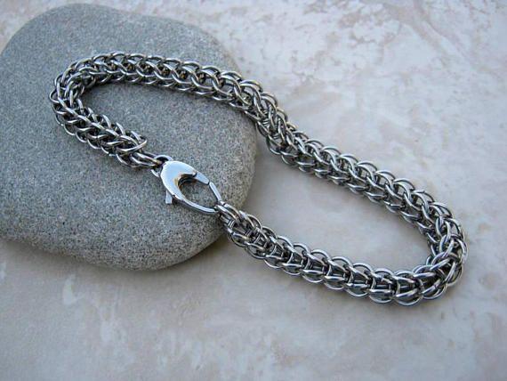 Mens Bracelet Women Stainless Chain Bracelet Unisex handmade by Arret on etsy.com