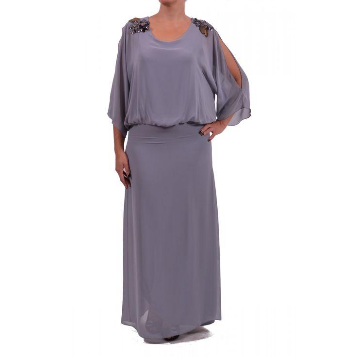 Φόρεμα από μουσελίνα-jersey ελαστικό με ανοίγματα στα μανίκια και μοτίφ στους ώμους. Συνθ.:100%POL