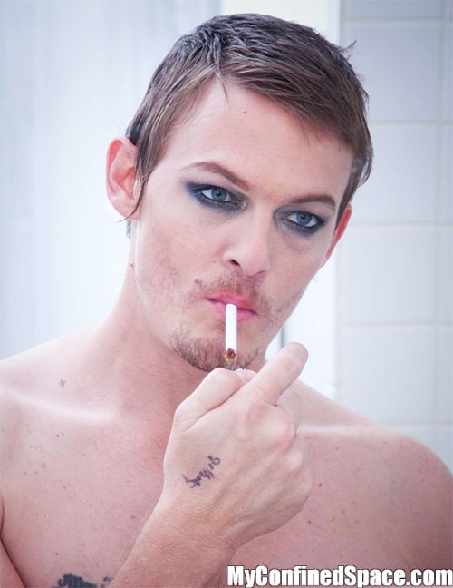 Oh. My. God.  Because my life was missing Daryl Dixon in eyeliner *swoon*.