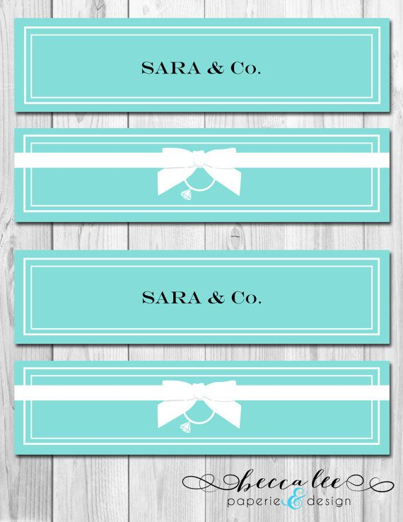 Water Bottle Labels - Tiffany Co Inspired Bridal Shower - DIY - Printable | Free Printable Ideas ...