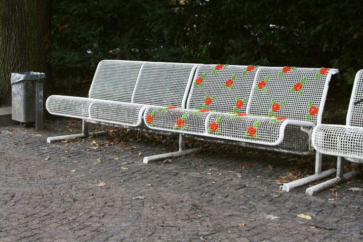 Interview: Miss Cross Stitch :: She does street embroidery, similar to yarn bombing. I like the idea of using these techniques to decorate my own patio furniture, as well as the street art.
